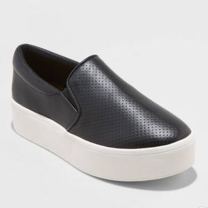 Black Microsuede Platform Slip-On Sneakers, NWT